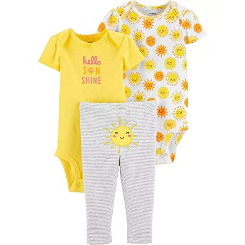 カーターズ Carter's 女の子用黄色HELLO SUNSHINEボディースーツxスマイル太陽さんコーデパンツ上下3点セット ロンパース カバーオール 出産祝い [並行輸入品]