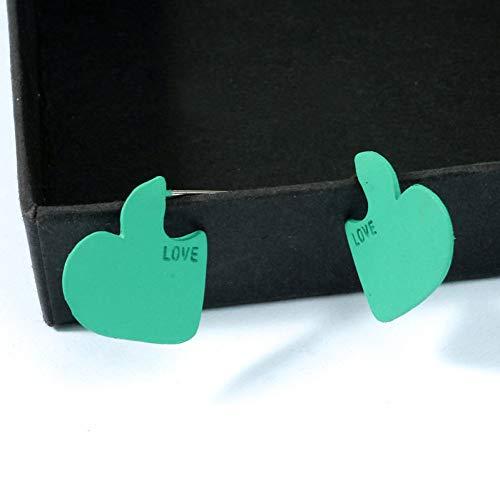FGFDHJ Pendiente de botón de corazón de Color Rojo para Mujer Pendiente de corazón Verde Amarillo pequeño Simple Amor