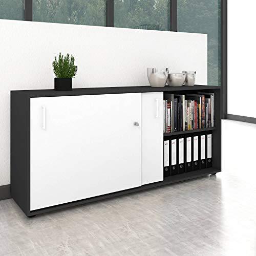 Weber Büro Schiebetürenschrank Sideboard NOVA 2OH 1.640 x 740 mm Anthrazit-Weiß