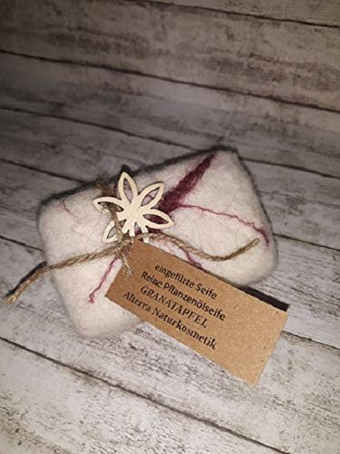 Eingefilzte Seife Naturkosmetik Granatapfel Filzseife natürlich Waschen