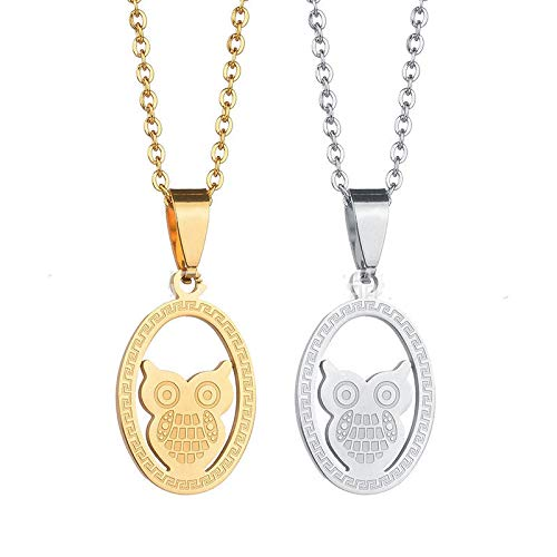iMustbuy Korean Version of Vacuum Plating Pendant Shell Owl Necklace Short Clavicle Chain Temperament Women