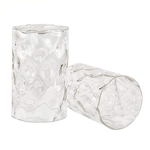 Lampenschirm 2er Set, E27 Ersatzglas, Ersatzlampenschirm Glas, Lampenglas für Pendellampe (Gehämmertem Glas)