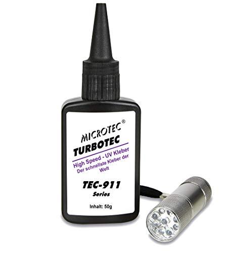 Microtec® Turbotec 911 UV-Kleber | 50g | mit UV-Taschenlampe | Der schnellste Kleber der Welt - das Original | lichthärtender und transparenter Klebstoff | Qualitätsprodukt aus Deutschland