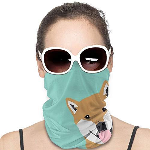 Shiba Inu Peek - Cute Shiba Doge Peeking Funny Dog Art Print Mint Turquoise Customizable Dog Gift Sun-Proof Face Mask Fashion Bandana Headwear Face towel for Men And Women
