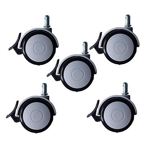 SMLZV Lenkrollen für Möbel, Gummilenkrollen Rad, Räder mit Bremse 65mm Grau Möbelrollen M10 / M11, Stumm Belastbarkeit 120kg, 5er Pack (Size : Circlip)