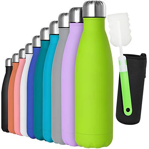 GeeRic Trinkflasche Edelstahl Thermosflaschen Doppelwandige thermoskanne 500ml Auslaufsicher BPA-frei rostfrei Isolierflasche und Hält kalte Mit Tassenbürste, Tassenschutz Olivgrün