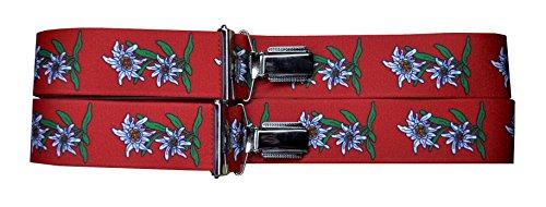 Alpin-Trachten Alpin-Trachten Trachtenhosenträger Hosenträger Edelweiss (Rot)