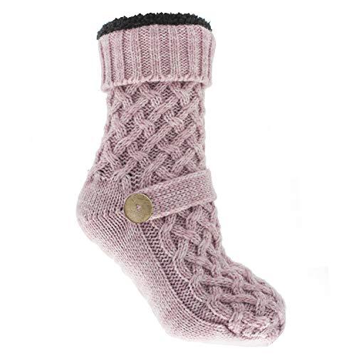 MinxNY Argan Infused Sweater Non-Skid Slipper Socks, Hthr Lavender