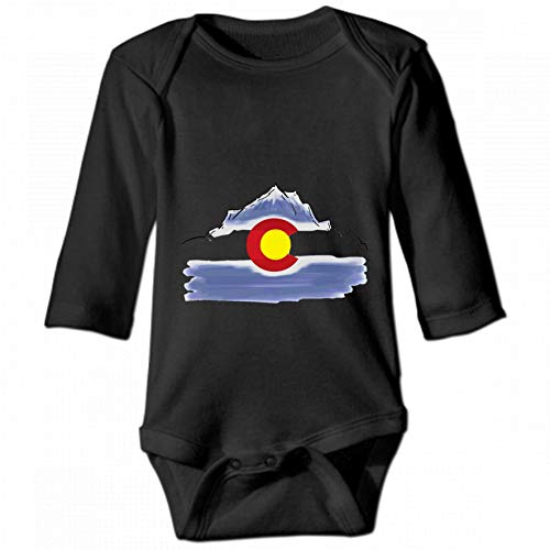 Colorado Flag Mountain Unisex Baby Round Neck Long Sleeve Bodysuit, Fashion Casual Baby Climbing Suit 2T