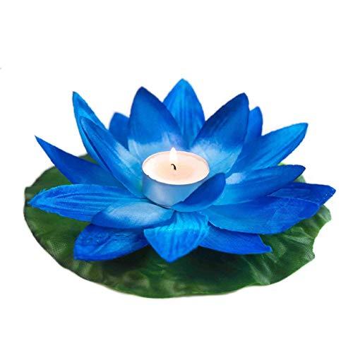 EUTOPICA Pack de 50 Velas flotantes para Piscina Tipo Flor, nenúfar, Polyester (Azul Marino)