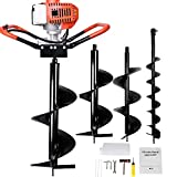 SuxiDi Powered 52cc 2.5HP Gas Post Hole Digger, 2 Cycle, One Man Earth Auger with 3 Replacement Drill Bits