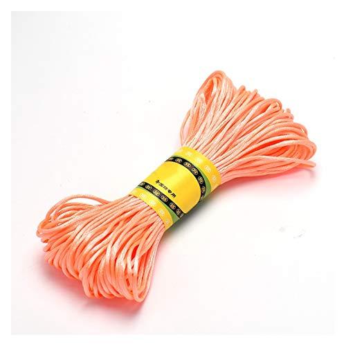 CHUNMA Cable de Ajuste de Nylon Satinado de 20m 1.5mm, cordón de ratchail Nudo Chino (Color : Fluorescent Red, Size : 1.5mm W x 20m L)