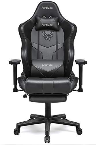 Kirogi Gaming Stuhl, Gaming Sessel mit Fußstütze, Ergonomischer schreibtischstuhl, Verstellbarer PC Gamer Stuhl für Erwachsene, großer und hoher Bürostuhl Kohlefaser Leder. Schwarz