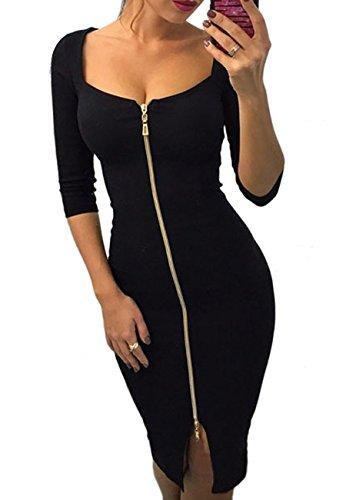 OMZIN Damen Abendkleid Figurbetontes Kleid Kurz Arm Sexy Kleid Reißverschluss Sommerkleid Vorne Partykleid Knielanges Schwarz S