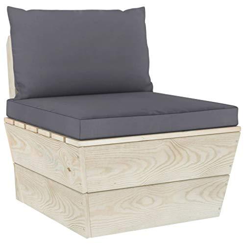 vidaXL Fichtenholz Imprägniert Garten Mittelsofa mit Kissen Sofa Einzelsofa Palettenmöbel Gartensofa Palettensofa Lounge Gartensessel Sessel