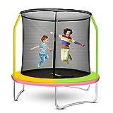 ROANUDE Trampoline for Kids, 8FT Outdoor Trampoline, Kids Trampoline with Enclosure Safety Net, Toddler Trampoline for Backyard