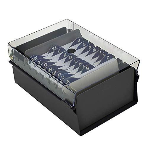 """Acrimet Fichero Tarjetero 3"""" X 5"""" Organizador de Tarjetas con Divisor y Indice A-Z incluidos (Índice A-Z 130mm X 90mm) (Base de Metal Resistente Color Negro y Tapa de Plástico Transparente)"""