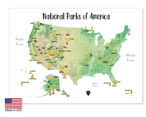 Massive Wanderlust Scratch-Off Your National Parks of America - 100% Made in USA - Large Size 24Wx17H - Gold Scratchable - with Pick and Unique Gift Sticker for Travelers