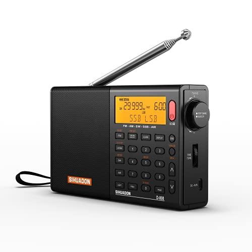 SIHUADON D808 Radio Portátil Radio Digital FM Am (MW) SW LW SSB Banda De Aire Radio Multibanda Altavoz Pantalla LCD Reloj Despertador Temporizador de sueño Negro