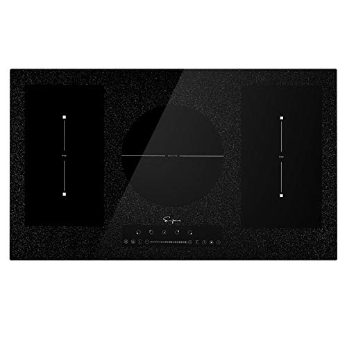 """Empava 36"""" electric stove induction cooktop with 5 booster burners including 2 flexi bridge element in black empv-idcf9"""