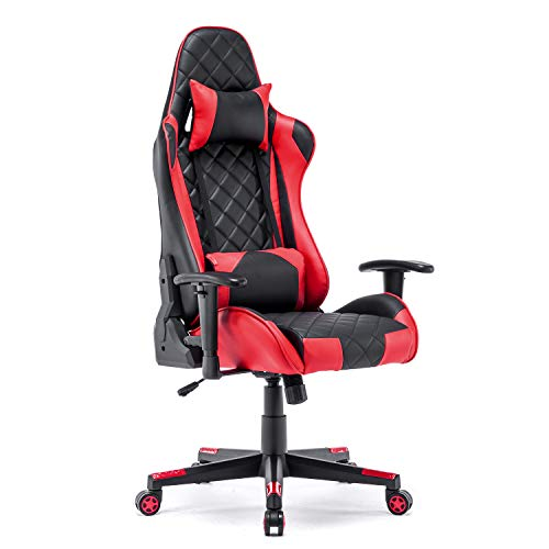 Gaming Chair Racing Office Chair High Back Computer Desk Chair PU Leather Chair Executive and Ergonomic Swivel Chair with Headrest and Lumbar Support (Red)