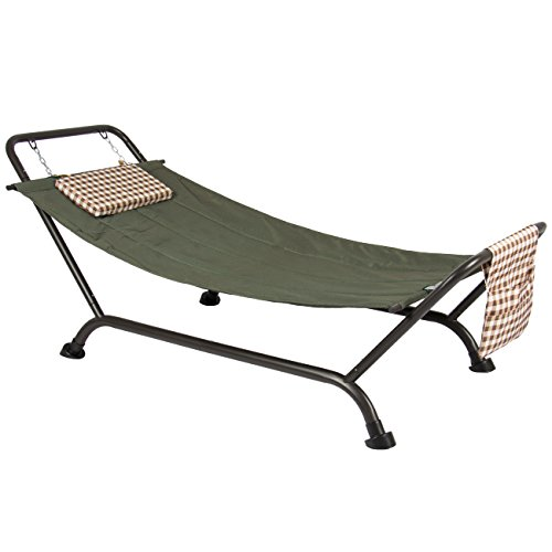 Best Choice Products Outdoor Patio Hammockw/Stand, Pillow, Storage Pockets - Green/Black