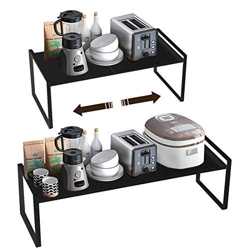 Taotigzu El estante de almacenamiento de metal extensible es para gabinetes de cocina, encimeras, cocina, alimentos y utensilios, podría ahorrar espacios, blanco… (negro, 60 * 21 * 18cm)