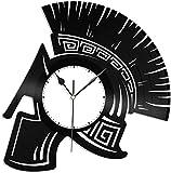 Reloj de Pared con Disco de Vinilo y Casco Espartano Regalo Creativo Hecho a Mano Colgante de Pared decoración artística Regalo de cumpleaños