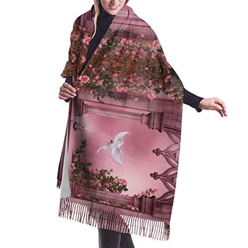 Vestidos Accesorios, Manta, Tapiz, Bufanda con Flecos, Arcos Florales de Rosas Puerta de Piedra, Bufandas largas y cálidas, Abrigo de Pashmina, mantón, Estola