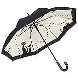 VON LILIENFELD Paraguas Automática Mujer Motivo Gatos Negros Doble Revestimiento