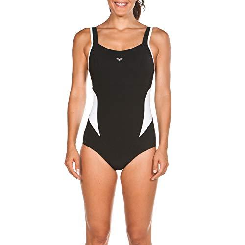 arena Damen Bodylift Badeanzug Makimurax Low C-Cup (Shapingeffekt, Figurformend, Schnelltrocknend, UV-Schutz), schwarz (Black-White), 40