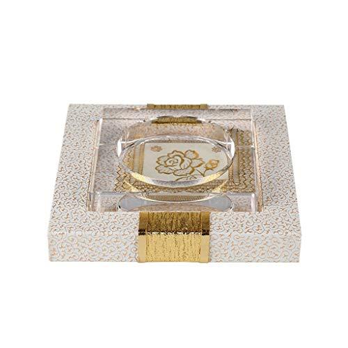 JYTYHG kryształowa popielniczka prezent do domu salon łazienka bar hotel biuro ława retro prosta sztuka kwadratowa szkło białe duża z tacą (kolor: biały) JYT osobowość praktyczna