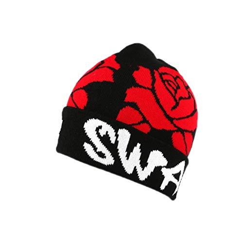 Nyls Création Bonnet Swag Noir et Roses Rouges - Mixte