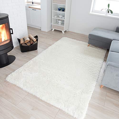 TAPISO® Silk Shaggy Teppich Hochflor | Modern Langflor Teppiche Einfarbig Weiss und Weich | Ideal für Schlafzimmer, Wohnzimmer, Kinderzimmer | ÖKO-TEX 120 x 170 cm