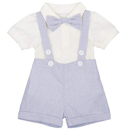 Traje de esmoquin de manga corta para niños recién nacidos, mameluco + pantalones cortos + pajarita, 3 piezas de verano para cumpleaños, ropa de boda