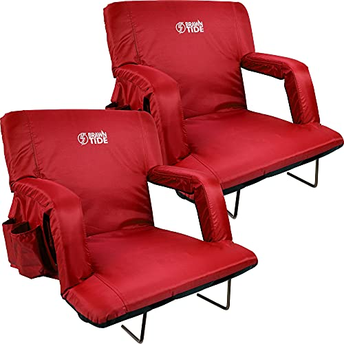Brawntide Wide Stadium Seat for Bleachers - 2 Pack, Stadium Chair with Back Support, Comfy Cushion, Thick Padding, 2 Steel Bleacher Hooks, 4 Pockets, Ideal for Sport Events, Concerts (Red, Wide Size)