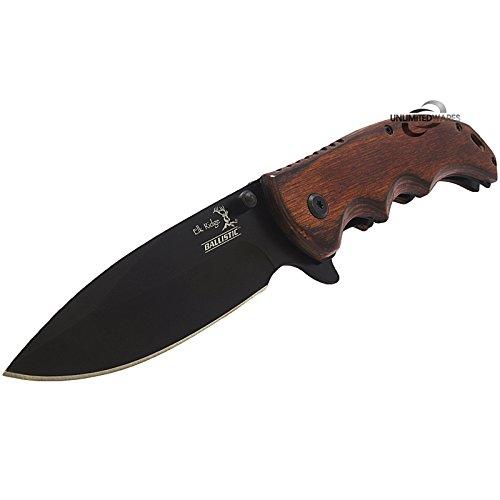 "8.25"" ELK RIDGE EDC BROWN PAKKAWOOD ASSISTED TACTICAL FOLDING KNIFE Blade"