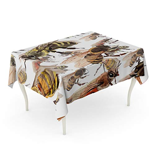 Tarolo Rectangle Tablecloth 60 x 102 Inch Colorful 820 Exotic Bee Wild Insect Pattern in Watercolor Full Name of The Honeybee Aquarelle for Tattoo Ant Table Cloth