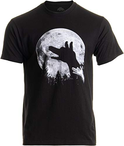 Wolf Shadow Puppet | Unique Moon Outdoor Hike Camp Funny Fun Men Women T-Shirt-(Adult,L) Black