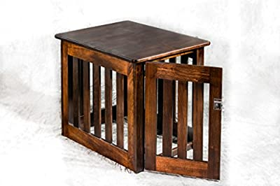 Amish Made Wood Decorative Dog Crate – Heavy Duty Chew- Resistant Wooden Kennel End Table Medium 29 x 23 x 24 inches - Maple