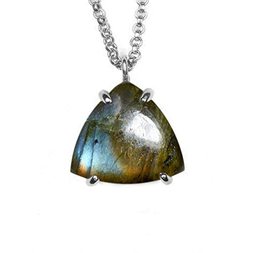 JewelryGift Natural Labradorite Pendant with Chain Trillion Cabochon Gemstone Multi Color 925 Sterling-silver Stylish Pendants for Mother