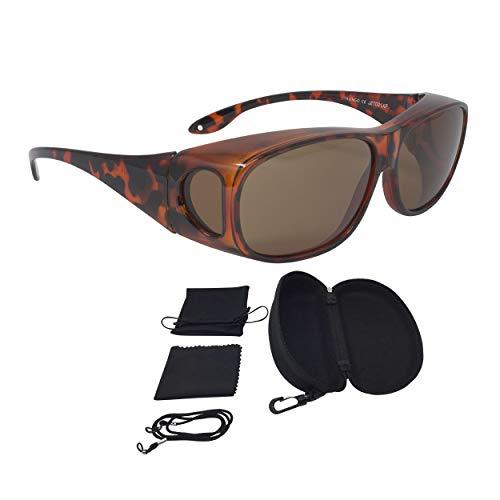 FALINGO Sonnenüberbrille Überzieh Sonnenbrille CLASSIC EDITION polarisiert UV 400 (Leopard, Braun)