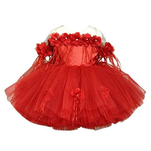 Livoral Mädchen Prinzessin Beauty Puff Rock Kleinkind Kind Baby Blume Tüll Party Brautkleid(Rot,80)