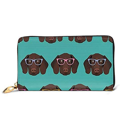 Alemán Puntero de Pelo Corto en Gafas Impreso Cartera de Cuero Mujeres Zip Bolso de Embrague Bolsa de Viaje Tarjeta de Crédito Titular, Black (Negro) - Black-48