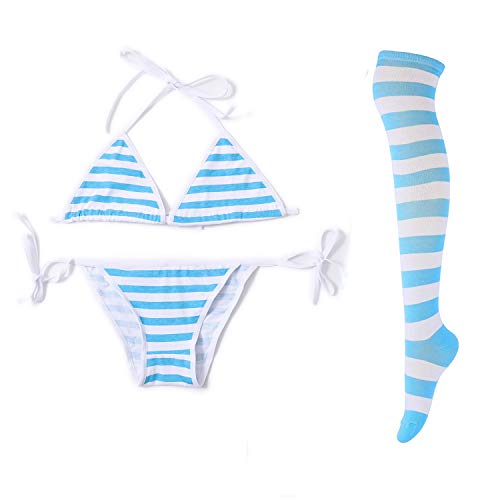 Sexy Lingerie Set Blue Stripe Bikini for Women with Blue White Striped Thigh High Socks, Japanese Anime Cosplay Lingerie Kawaii Bra and Panty Set