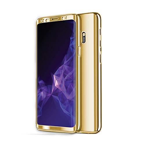 Zater Hülle für Samsung Galaxy S8/S9 Hüllen, Galaxy S7 Handyhülle 3 in 1 Ultra Dünn Hartschale 360 Grad Hart PC Hardcase Cover Schutzhülle für Galaxy S9 Plus/S8 Plus (Golden, Samsung Galaxy S7)