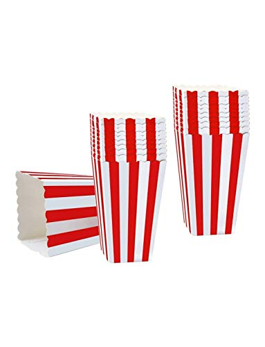 50PCS Popcorn Favor Boxes, Striped Paper Popcorn Boxes Cardboard Candy Container for Birthday Theater Themed Parties Movie Nights Carnivals, Red And White 3.3 X 5.6 Inches