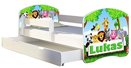 Letto per bambino Cameretta per bambino con materasso Cassetto ACMA II (01 Il nome Zoo, 180x80 + Cassetto)