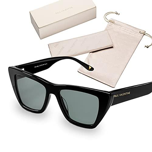 PAUL VALENTINE - Gafas de sol para mujer - Fabricadas en Italia con protección solar 100% UV (UV400) con marco de alta calidad de acetato o acero inoxidable., Sofia Black,