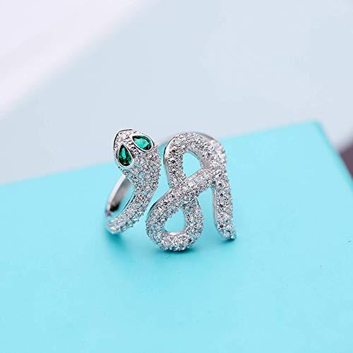 Exquisito anillo abierto de circón con incrustaciones de todo fósforo, exquisitas joyas pequeñas, anillo de serpiente de excelente calidad